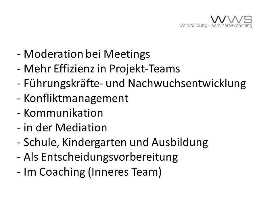 weiterbildung – seminare+coaching - Moderation bei Meetings - Mehr Effizienz in Projekt-Teams - Führungskräfte- und Nachwuchsentwicklung - Konfliktman
