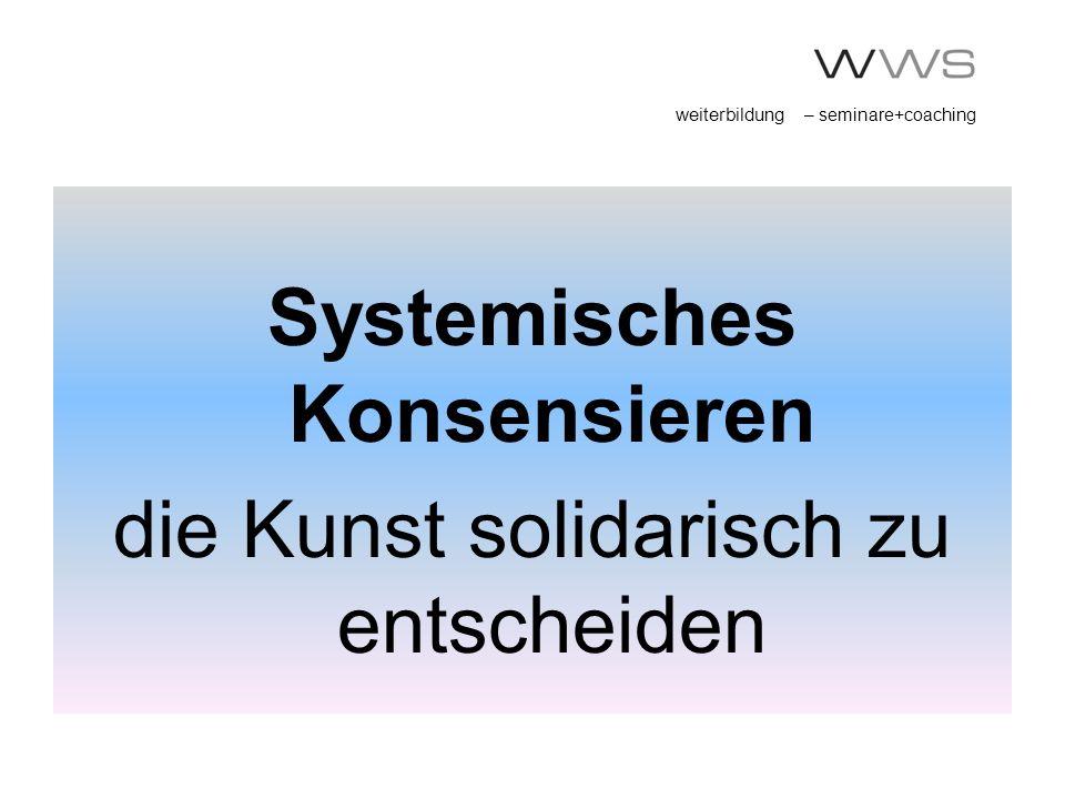 weiterbildung – seminare+coaching Systemisches Konsensieren die Kunst solidarisch zu entscheiden