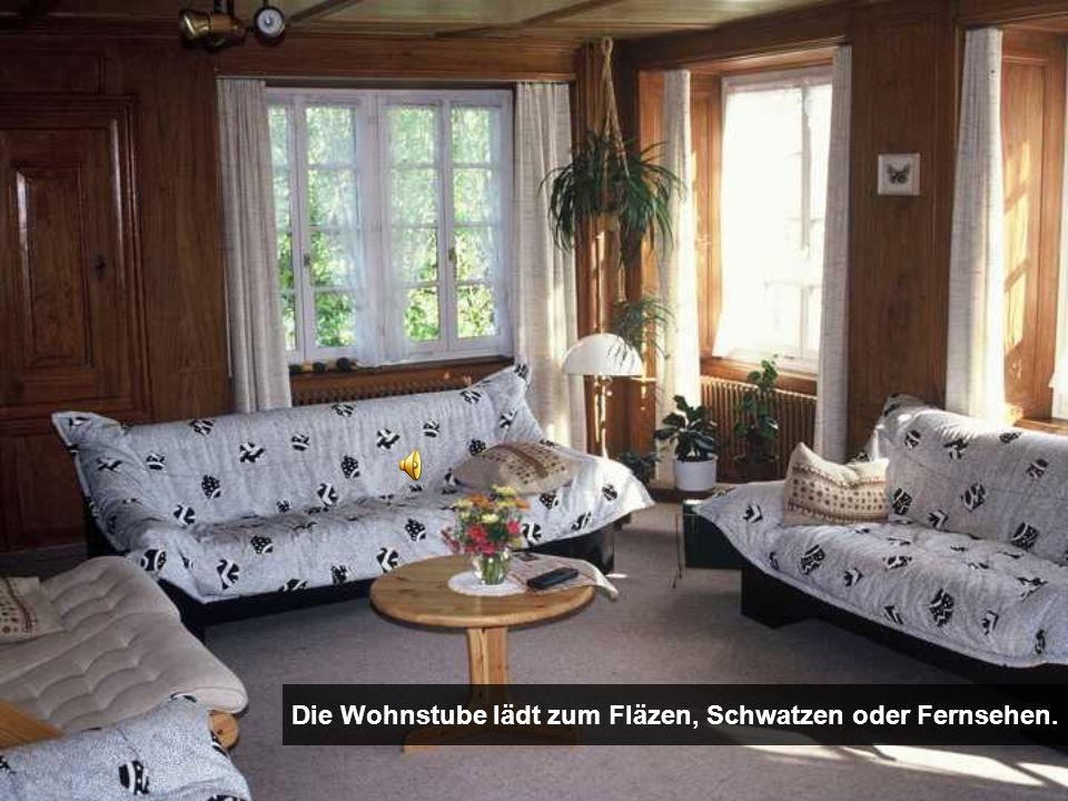 Die Wohnstube lädt zum Fläzen, Schwatzen oder Fernsehen.