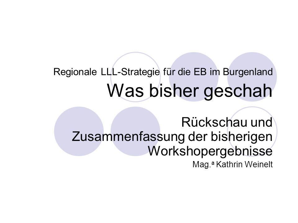 Regionale LLL-Strategie für die EB im Burgenland Was bisher geschah Rückschau und Zusammenfassung der bisherigen Workshopergebnisse Mag.