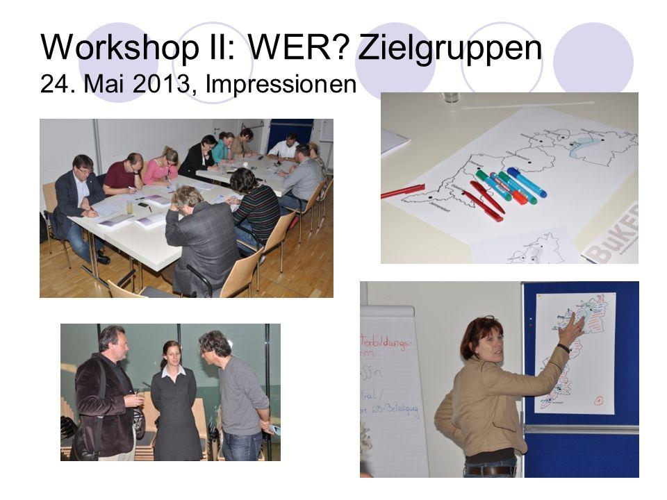 Workshop II: WER Zielgruppen 24. Mai 2013, Impressionen
