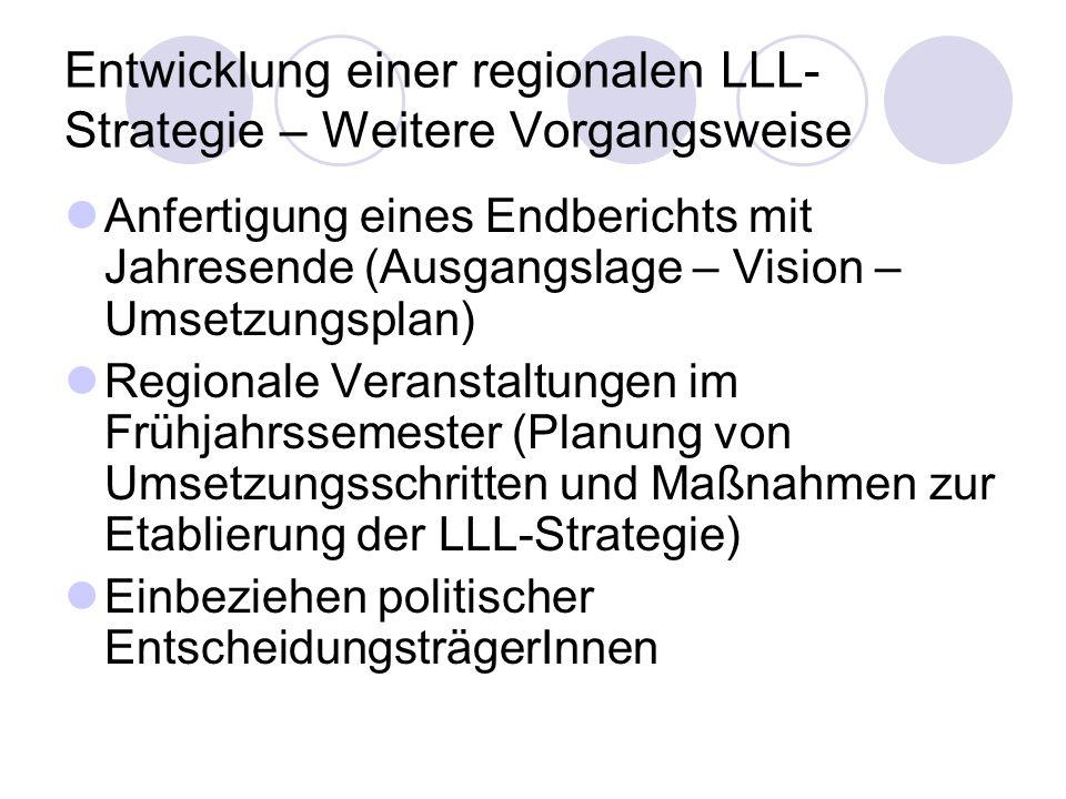 Anfertigung eines Endberichts mit Jahresende (Ausgangslage – Vision – Umsetzungsplan) Regionale Veranstaltungen im Frühjahrssemester (Planung von Umsetzungsschritten und Maßnahmen zur Etablierung der LLL-Strategie) Einbeziehen politischer EntscheidungsträgerInnen