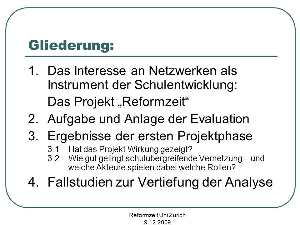 Reformzeit Uni Zürich 9.12.2009 Gliederung: 1.Das Interesse an Netzwerken als Instrument der Schulentwicklung: Das Projekt Reformzeit 2.Aufgabe und An