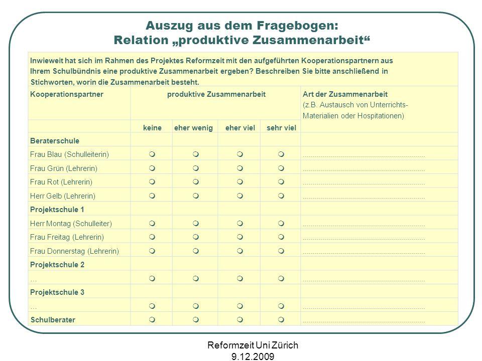Reformzeit Uni Zürich 9.12.2009 Inwieweit hat sich im Rahmen des Projektes Reformzeit mit den aufgeführten Kooperationspartnern aus Ihrem Schulbündnis
