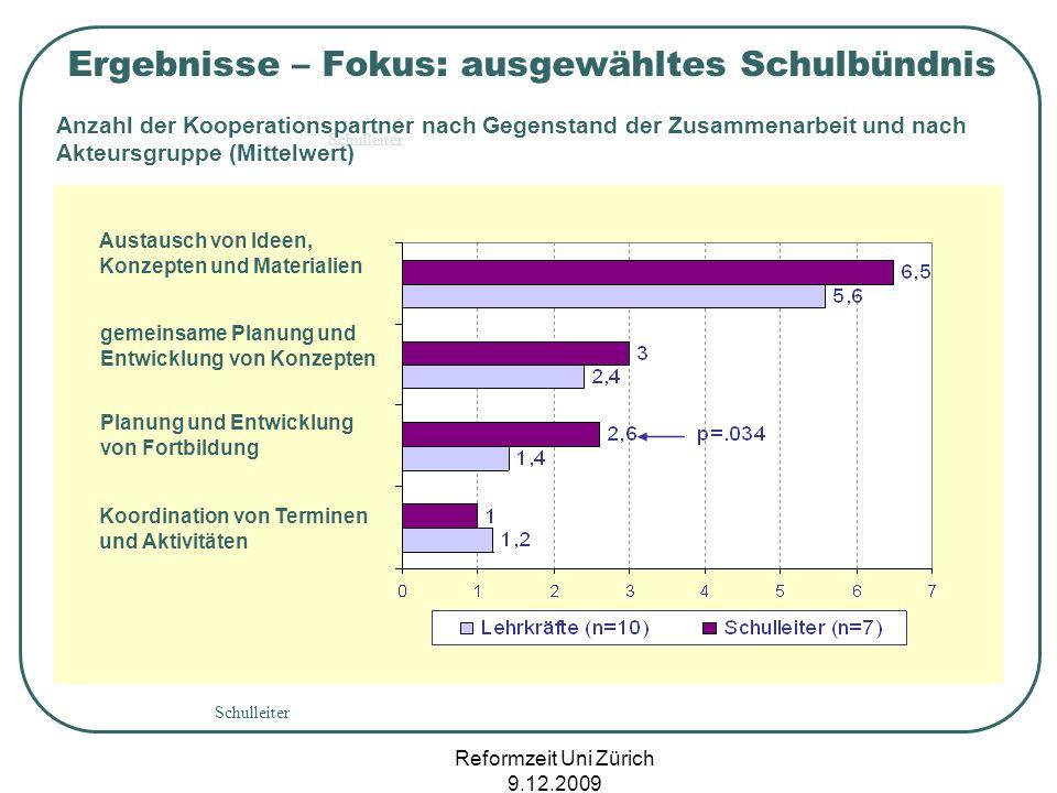 Reformzeit Uni Zürich 9.12.2009 Schulleiter Anzahl der Kooperationspartner nach Gegenstand der Zusammenarbeit und nach Akteursgruppe (Mittelwert) Erge