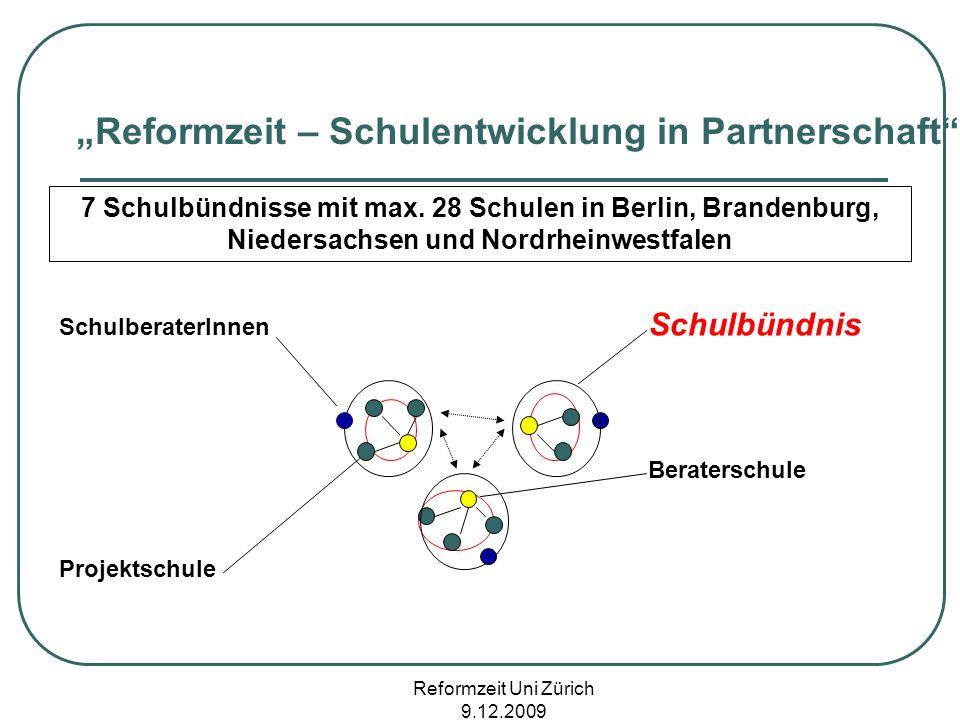 Reformzeit Uni Zürich 9.12.2009 Reformzeit – Schulentwicklung in Partnerschaft 7 Schulbündnisse mit max. 28 Schulen in Berlin, Brandenburg, Niedersach