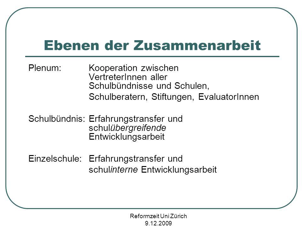 Reformzeit Uni Zürich 9.12.2009 Ebenen der Zusammenarbeit Plenum:Kooperation zwischen VertreterInnen aller Schulbündnisse und Schulen, Schulberatern,