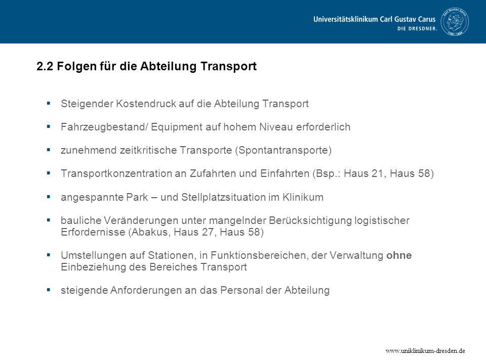 www.uniklinikum-dresden.de 2.2 Folgen für die Abteilung Transport Steigender Kostendruck auf die Abteilung Transport Fahrzeugbestand/ Equipment auf ho