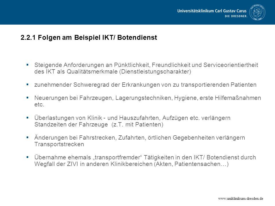 www.uniklinikum-dresden.de 2.2.1 Folgen am Beispiel IKT/ Botendienst Steigende Anforderungen an Pünktlichkeit, Freundlichkeit und Serviceorientierthei
