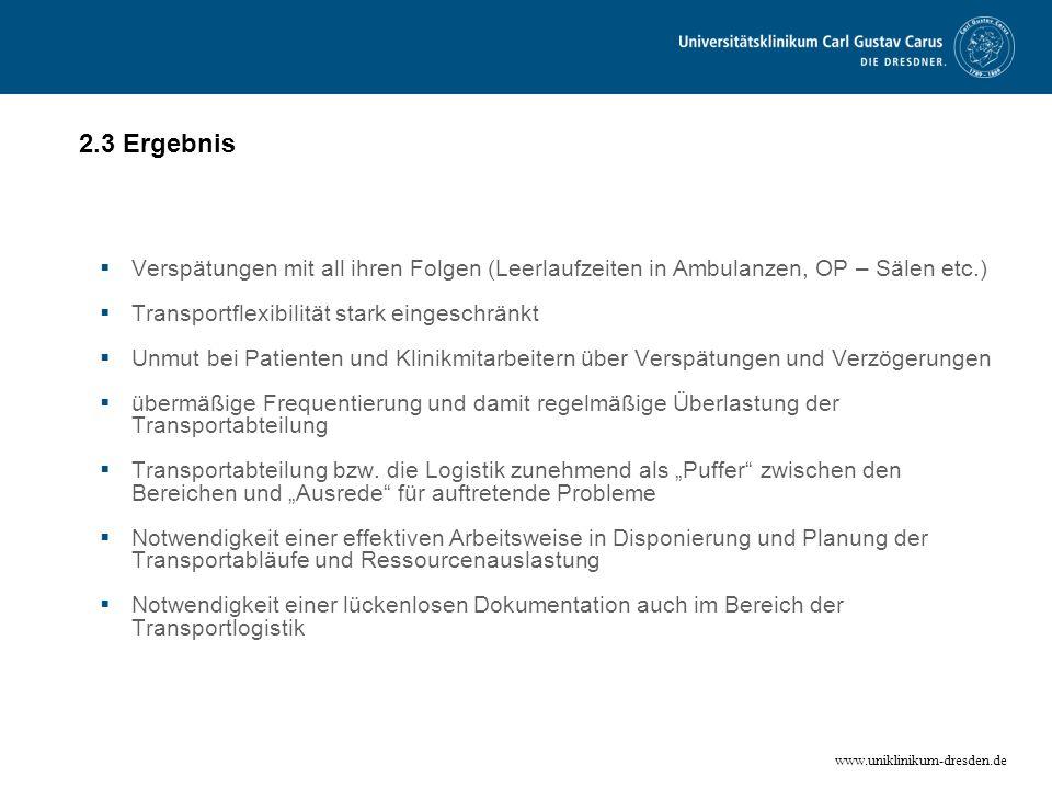 www.uniklinikum-dresden.de 2.3 Ergebnis Verspätungen mit all ihren Folgen (Leerlaufzeiten in Ambulanzen, OP – Sälen etc.) Transportflexibilität stark
