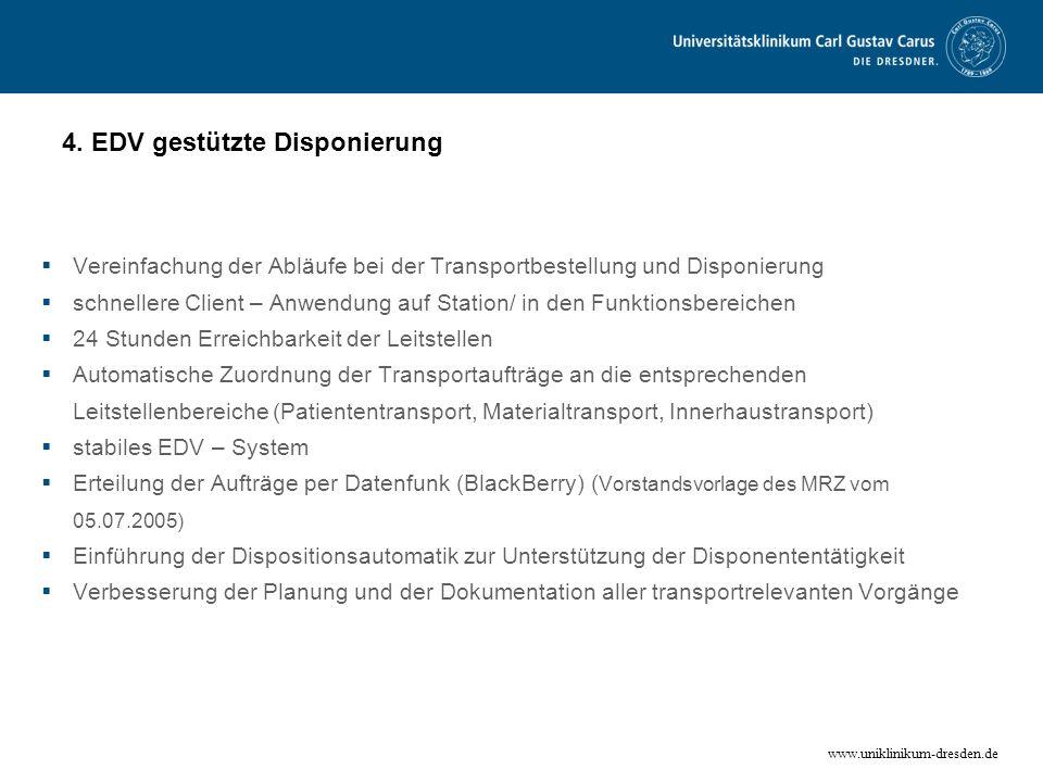 www.uniklinikum-dresden.de 4. EDV gestützte Disponierung Vereinfachung der Abläufe bei der Transportbestellung und Disponierung schnellere Client – An