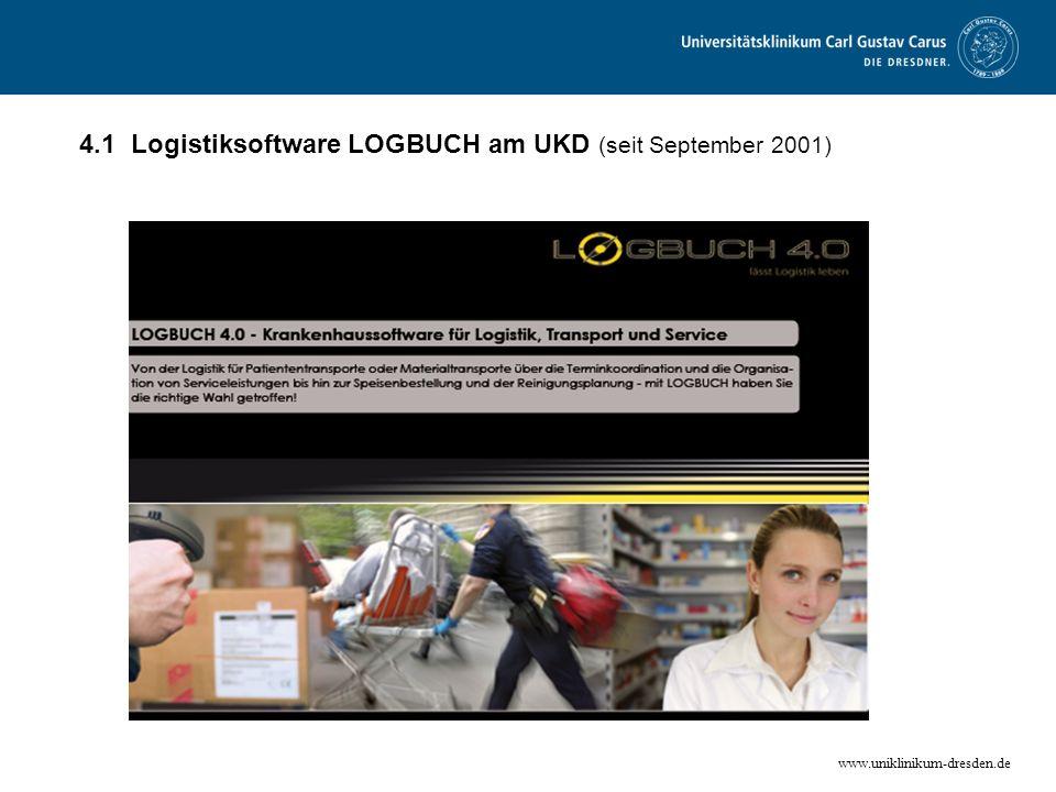 www.uniklinikum-dresden.de 4.1 Logistiksoftware LOGBUCH am UKD (seit September 2001)