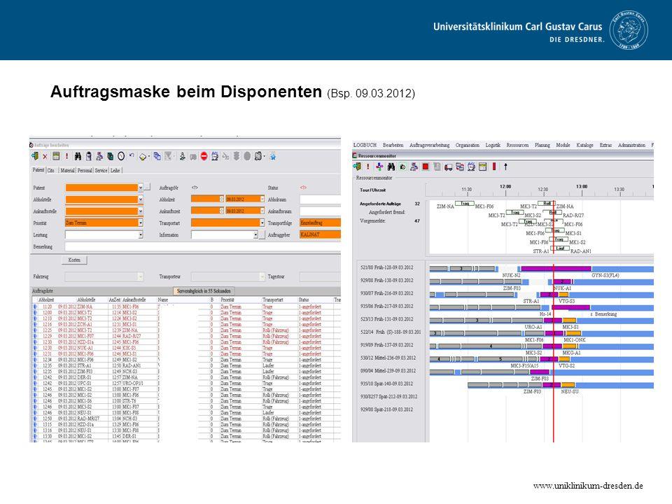 www.uniklinikum-dresden.de Auftragsmaske beim Disponenten (Bsp. 09.03.2012)