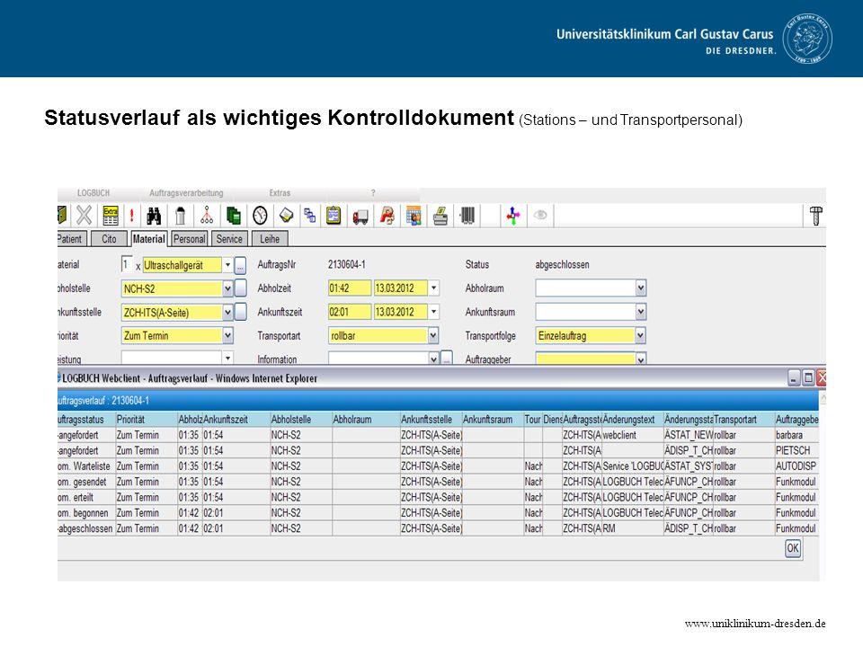 www.uniklinikum-dresden.de Statusverlauf als wichtiges Kontrolldokument (Stations – und Transportpersonal)