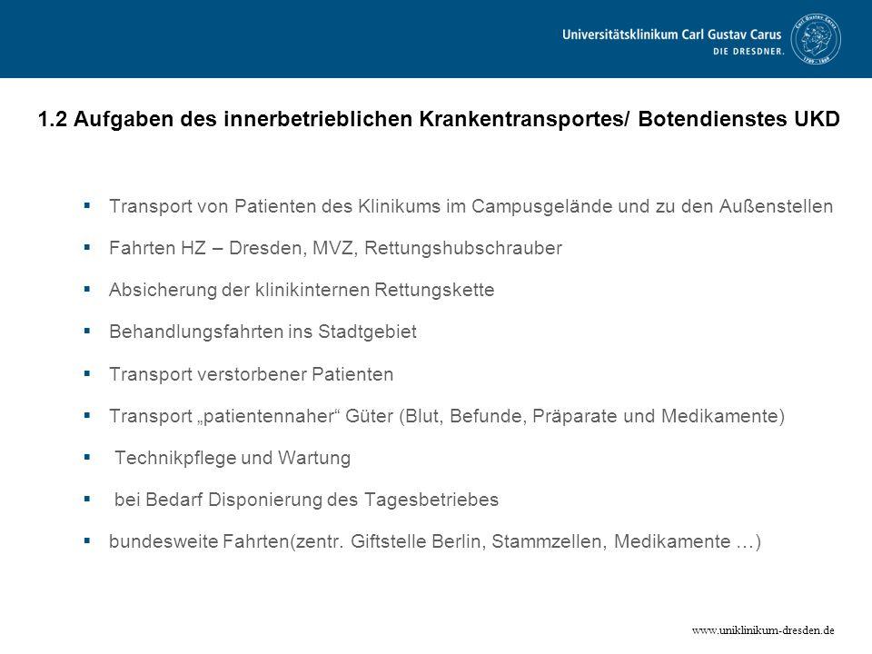 www.uniklinikum-dresden.de 1.2 Aufgaben des innerbetrieblichen Krankentransportes/ Botendienstes UKD Transport von Patienten des Klinikums im Campusge