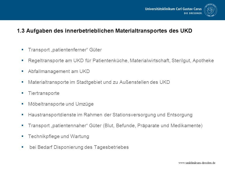 www.uniklinikum-dresden.de 1.3 Aufgaben des innerbetrieblichen Materialtransportes des UKD Transport patientenferner Güter Regeltransporte am UKD für