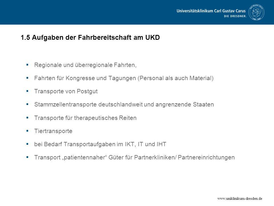 www.uniklinikum-dresden.de 1.5 Aufgaben der Fahrbereitschaft am UKD Regionale und überregionale Fahrten, Fahrten für Kongresse und Tagungen (Personal