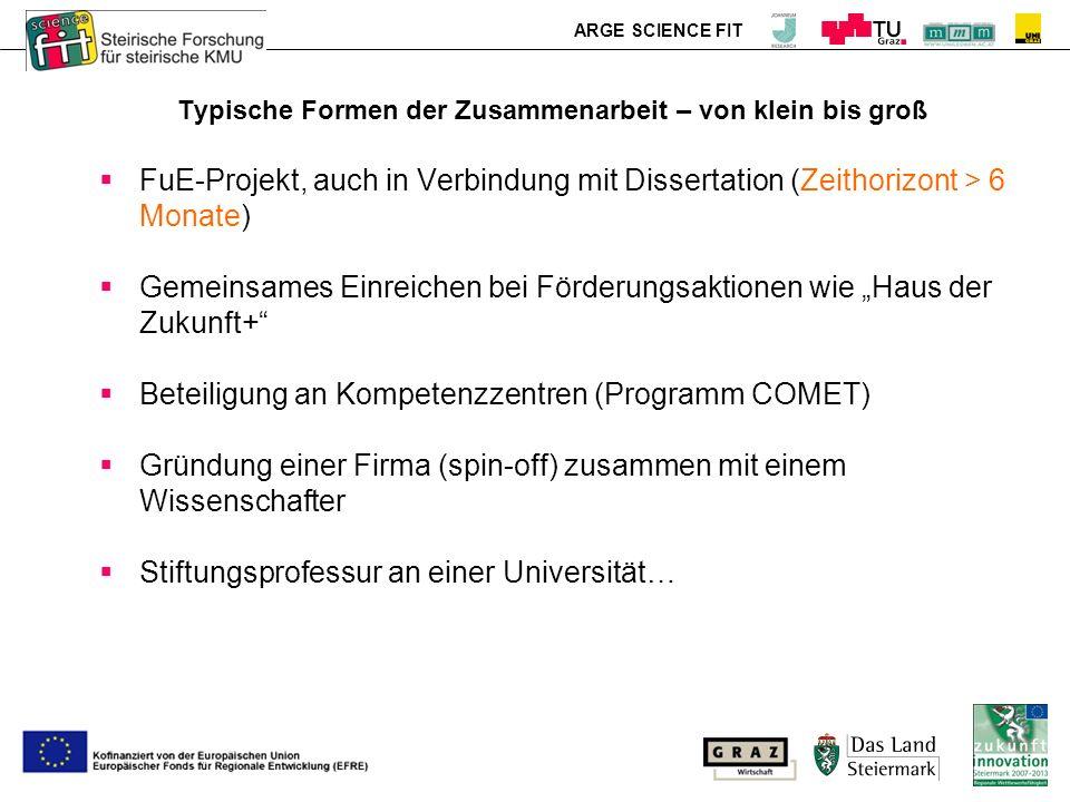 ARGE SCIENCE FIT Typische Formen der Zusammenarbeit – von klein bis groß FuE-Projekt, auch in Verbindung mit Dissertation (Zeithorizont > 6 Monate) Ge