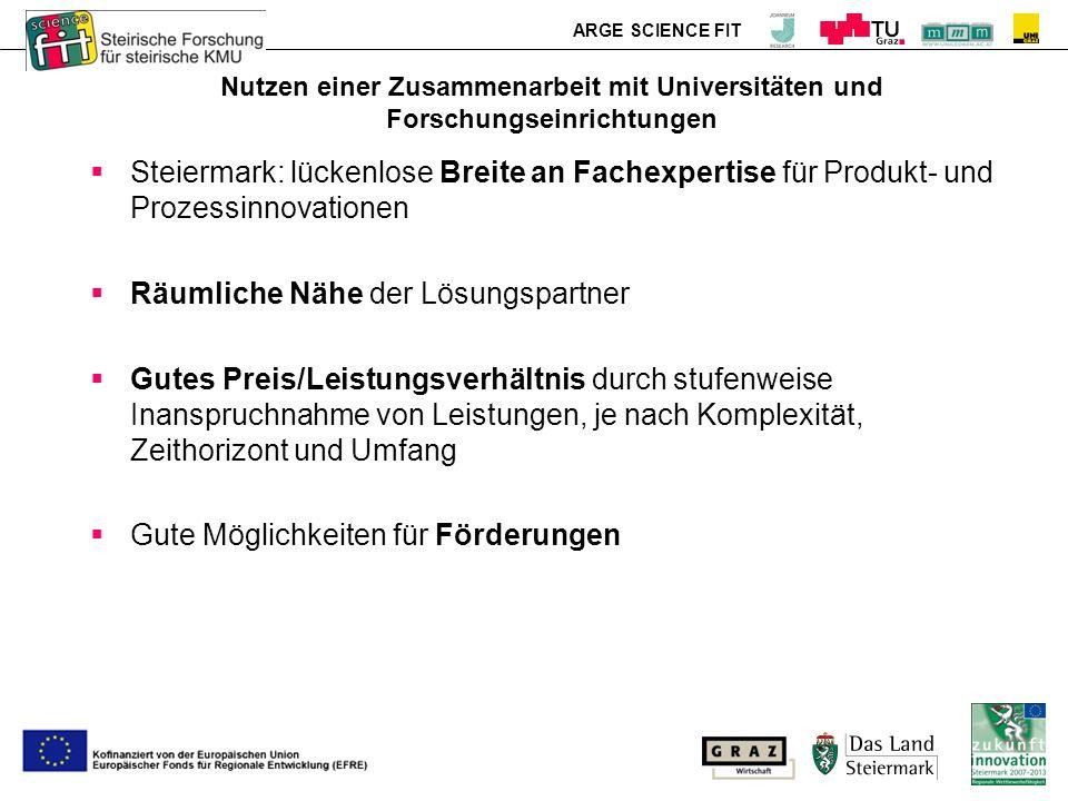 ARGE SCIENCE FIT Nutzen einer Zusammenarbeit mit Universitäten und Forschungseinrichtungen Steiermark: lückenlose Breite an Fachexpertise für Produkt- und Prozessinnovationen Räumliche Nähe der Lösungspartner Gutes Preis/Leistungsverhältnis durch stufenweise Inanspruchnahme von Leistungen, je nach Komplexität, Zeithorizont und Umfang Gute Möglichkeiten für Förderungen
