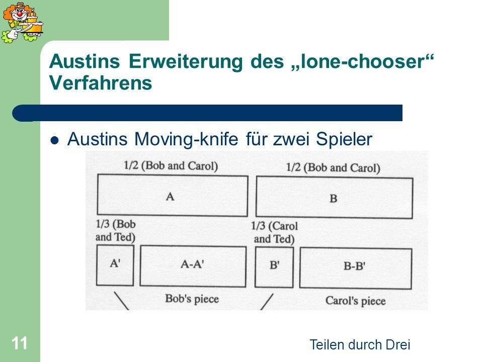 Teilen durch Drei 11 Austins Erweiterung des lone-chooser Verfahrens Austins Moving-knife für zwei Spieler