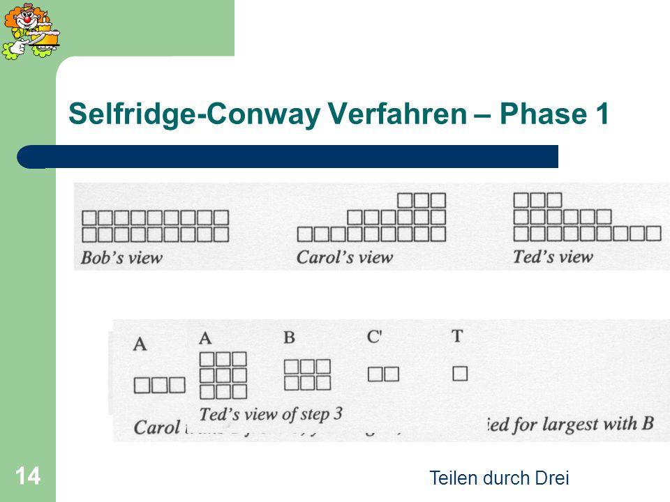Teilen durch Drei 14 Selfridge-Conway Verfahren – Phase 1