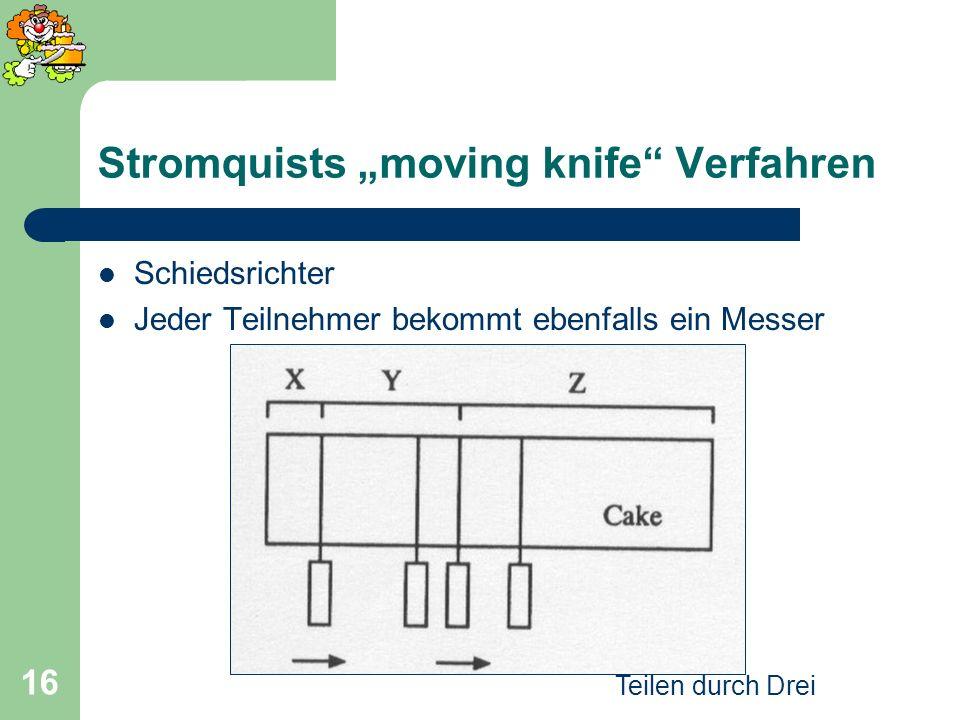 Teilen durch Drei 16 Stromquists moving knife Verfahren Schiedsrichter Jeder Teilnehmer bekommt ebenfalls ein Messer