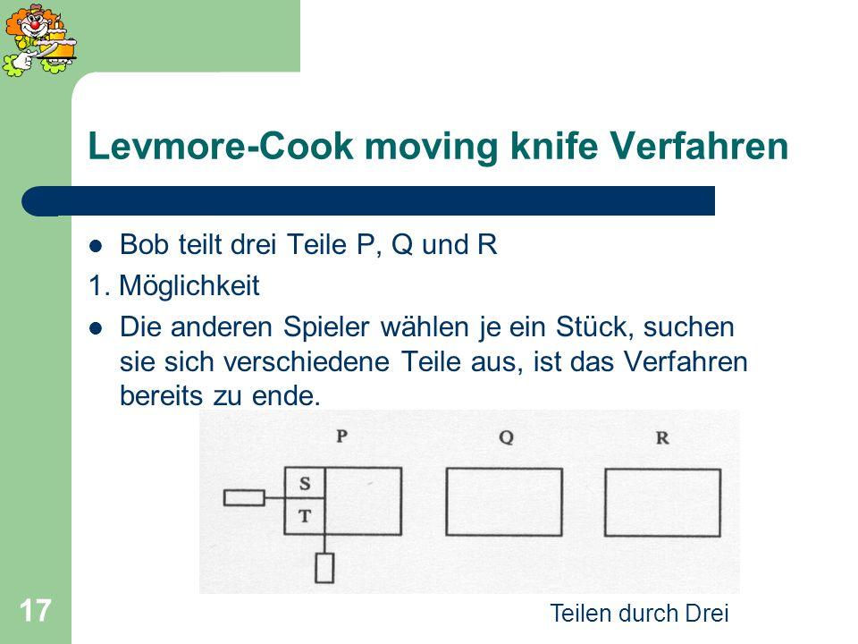 Teilen durch Drei 17 Levmore-Cook moving knife Verfahren Bob teilt drei Teile P, Q und R 1. Möglichkeit Die anderen Spieler wählen je ein Stück, suche