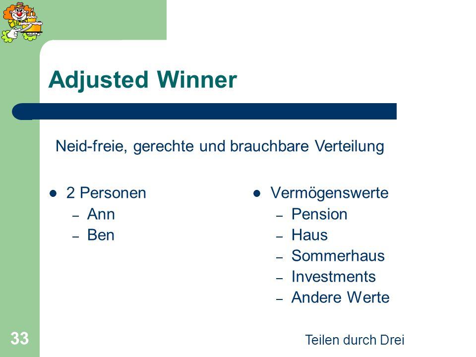Teilen durch Drei 33 Adjusted Winner 2 Personen – Ann – Ben Vermögenswerte – Pension – Haus – Sommerhaus – Investments – Andere Werte Neid-freie, gere