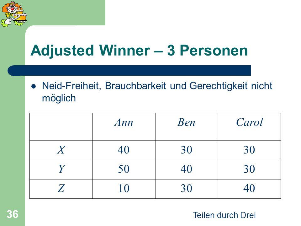 Teilen durch Drei 36 Adjusted Winner – 3 Personen Neid-Freiheit, Brauchbarkeit und Gerechtigkeit nicht möglich AnnBenCarol X4030 Y504030 Z103040