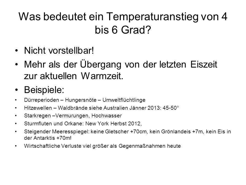 Was bedeutet ein Temperaturanstieg von 4 bis 6 Grad.
