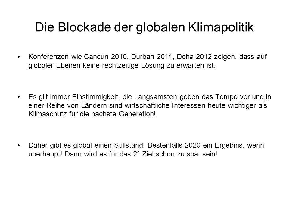 Die Blockade der globalen Klimapolitik Konferenzen wie Cancun 2010, Durban 2011, Doha 2012 zeigen, dass auf globaler Ebenen keine rechtzeitige Lösung zu erwarten ist.
