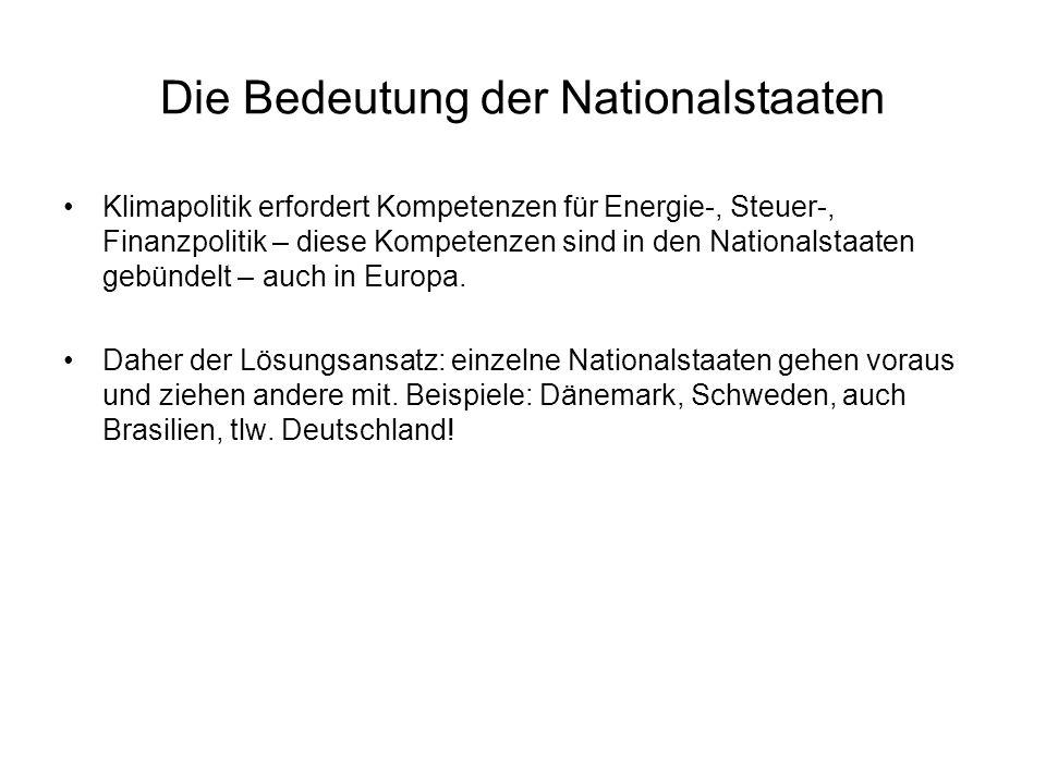 Die Bedeutung der Nationalstaaten Klimapolitik erfordert Kompetenzen für Energie-, Steuer-, Finanzpolitik – diese Kompetenzen sind in den Nationalstaaten gebündelt – auch in Europa.