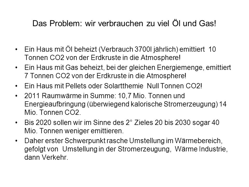 Das Problem: wir verbrauchen zu viel Öl und Gas.