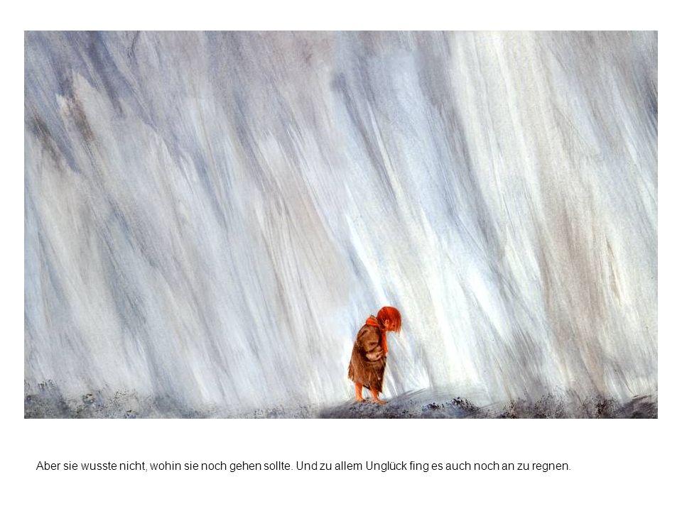 Aber sie wusste nicht, wohin sie noch gehen sollte. Und zu allem Unglück fing es auch noch an zu regnen.