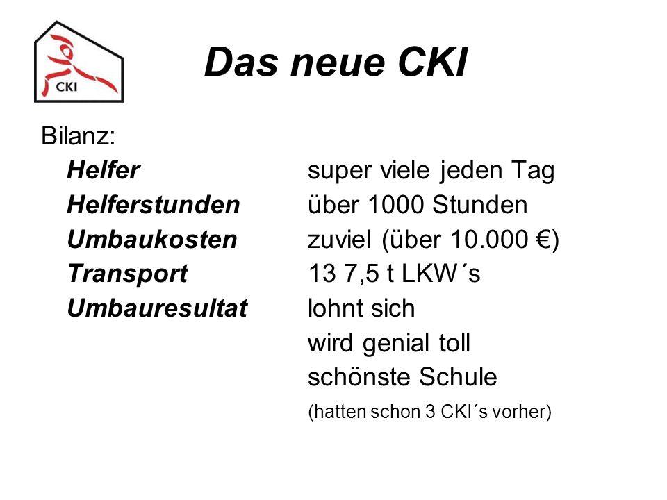 Das neue CKI Bilanz: Helfersuper viele jeden Tag Helferstundenüber 1000 Stunden Umbaukostenzuviel (über 10.000 ) Transport13 7,5 t LKW´s Umbauresultat