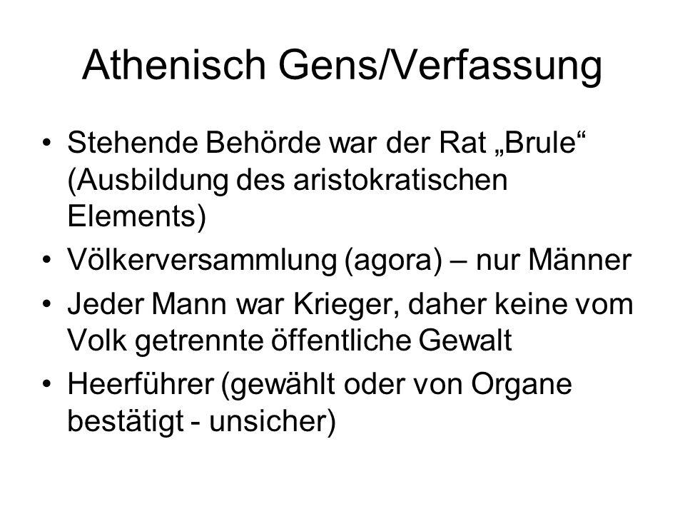 Athenisch Gens/Verfassung Stehende Behörde war der Rat Brule (Ausbildung des aristokratischen Elements) Völkerversammlung (agora) – nur Männer Jeder M