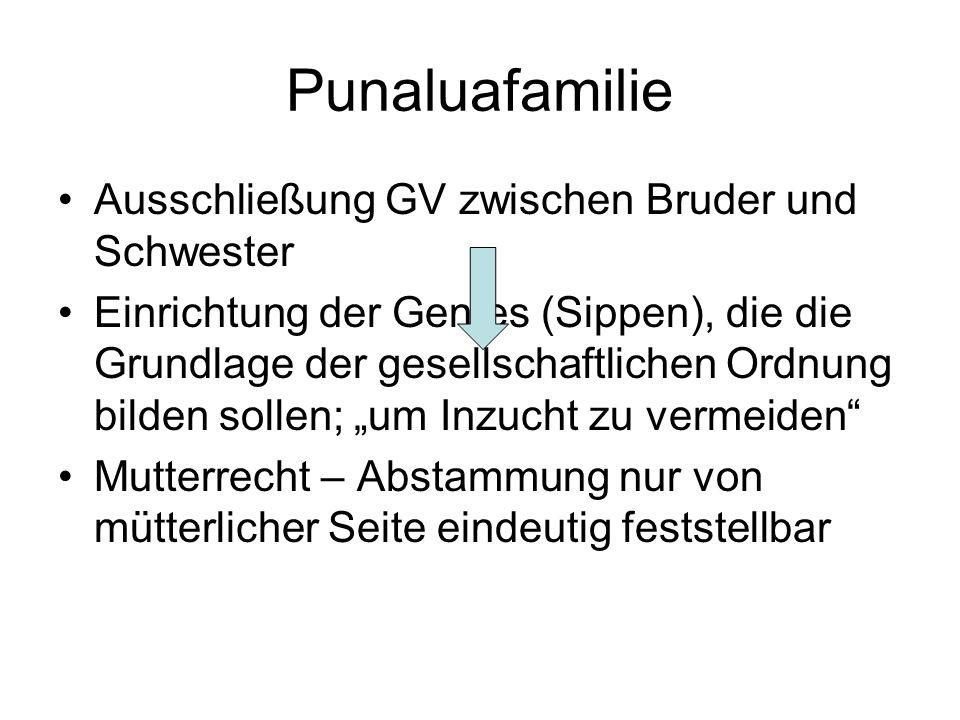 Punaluafamilie Ausschließung GV zwischen Bruder und Schwester Einrichtung der Gentes (Sippen), die die Grundlage der gesellschaftlichen Ordnung bilden