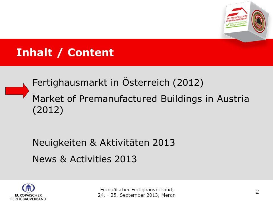 Fertighäuser 2012 1. Teil: Wirtschaftliche Rahmenbedingungen und Bau – allgemein