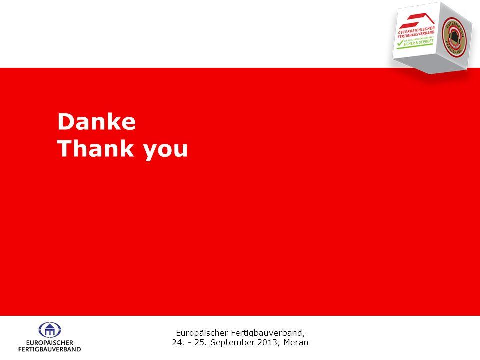 Europäischer Fertigbauverband, 24. - 25. September 2013, Meran Danke Thank you