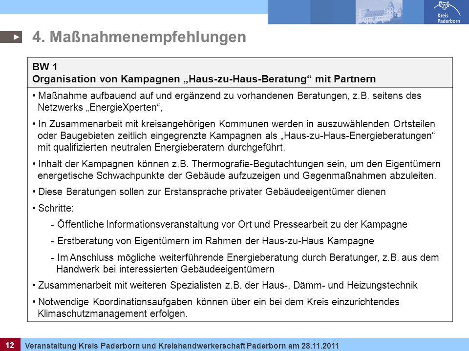 12 Veranstaltung Kreis Paderborn und Kreishandwerkerschaft Paderborn am 28.11.2011 12 BW 1 Organisation von Kampagnen Haus-zu-Haus-Beratung mit Partne