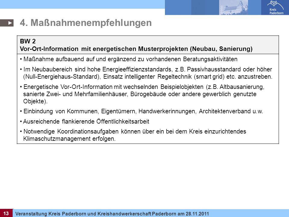 13 Veranstaltung Kreis Paderborn und Kreishandwerkerschaft Paderborn am 28.11.2011 13 BW 2 Vor-Ort-Information mit energetischen Musterprojekten (Neub