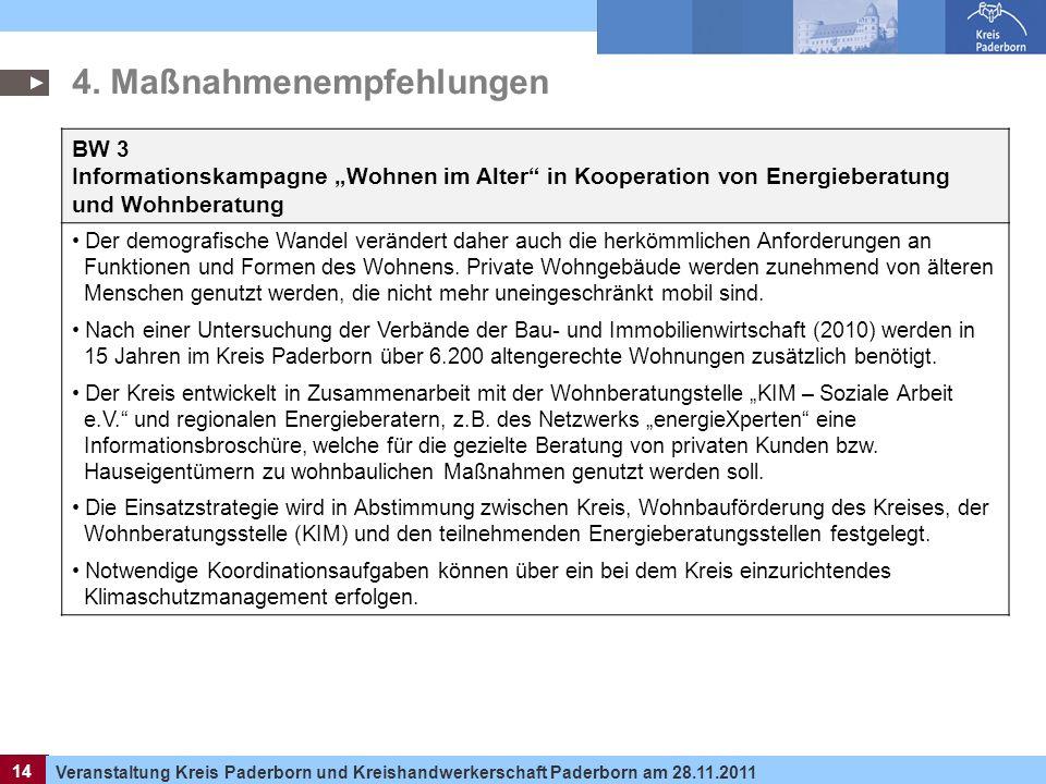 14 Veranstaltung Kreis Paderborn und Kreishandwerkerschaft Paderborn am 28.11.2011 14 BW 3 Informationskampagne Wohnen im Alter in Kooperation von Ene