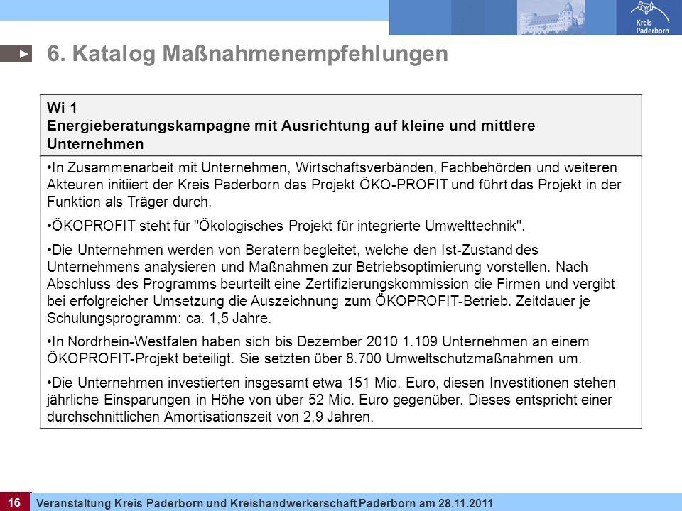 16 Veranstaltung Kreis Paderborn und Kreishandwerkerschaft Paderborn am 28.11.2011 16 6. Katalog Maßnahmenempfehlungen Wi 1 Energieberatungskampagne m