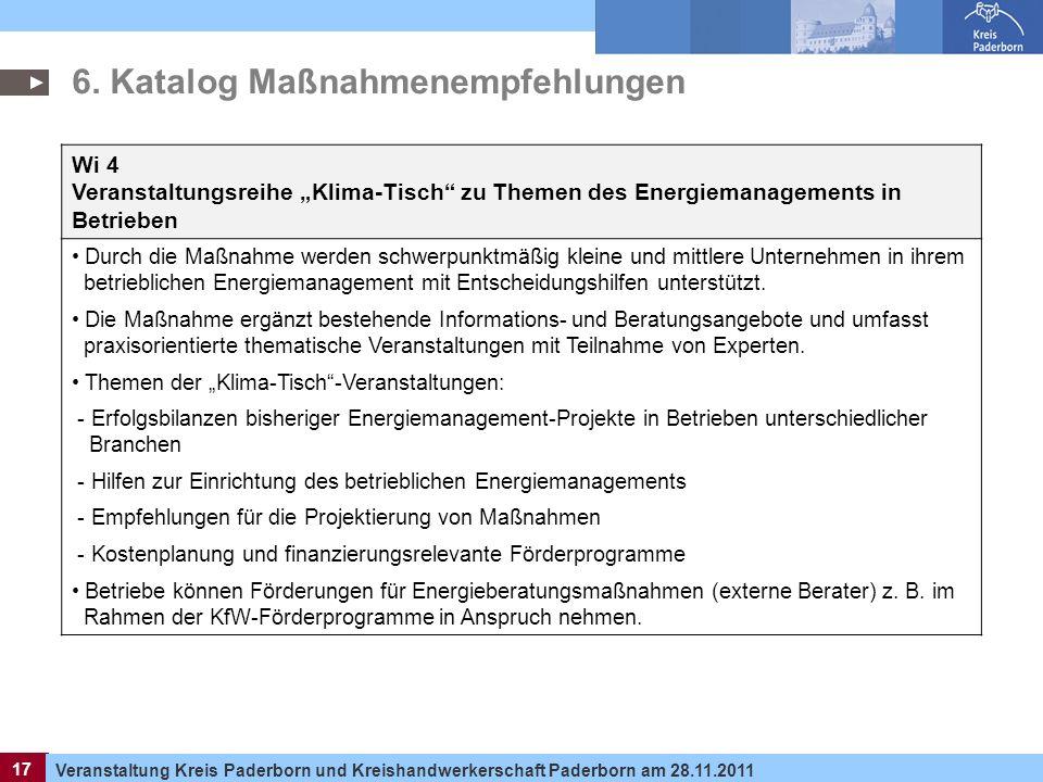 17 Veranstaltung Kreis Paderborn und Kreishandwerkerschaft Paderborn am 28.11.2011 17 6. Katalog Maßnahmenempfehlungen Wi 4 Veranstaltungsreihe Klima-