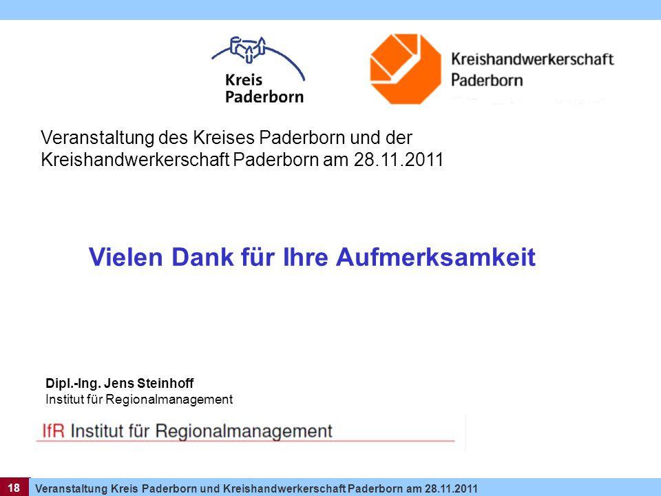 18 Veranstaltung Kreis Paderborn und Kreishandwerkerschaft Paderborn am 28.11.2011 18 Dipl.-Ing. Jens Steinhoff Institut für Regionalmanagement Verans