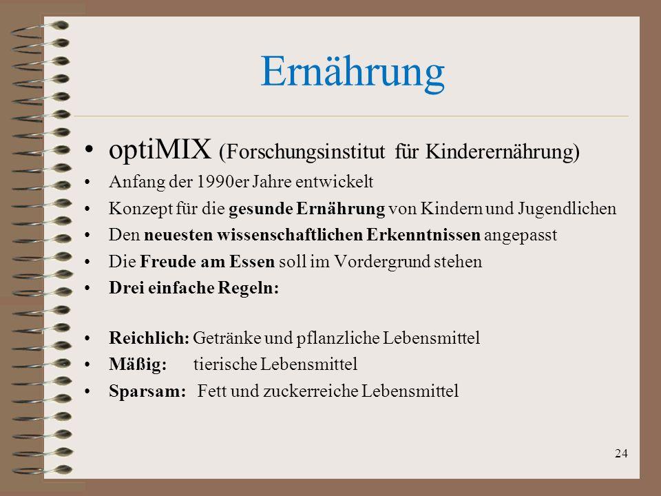 Ernährung optiMIX (Forschungsinstitut für Kinderernährung) Anfang der 1990er Jahre entwickelt Konzept für die gesunde Ernährung von Kindern und Jugend