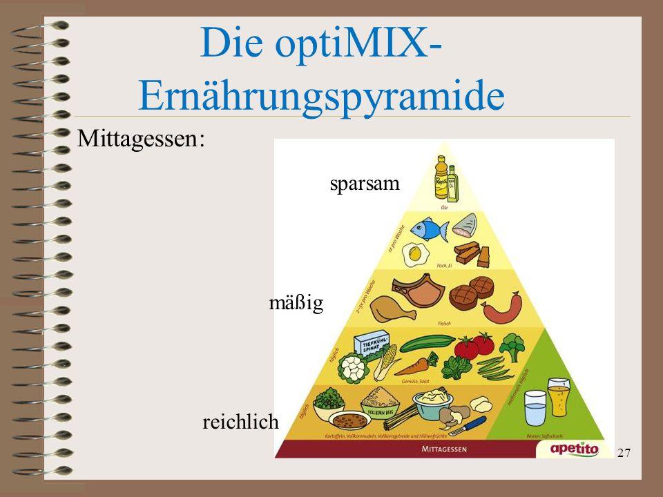 Die optiMIX- Ernährungspyramide sparsam mäßig reichlich Mittagessen: 27