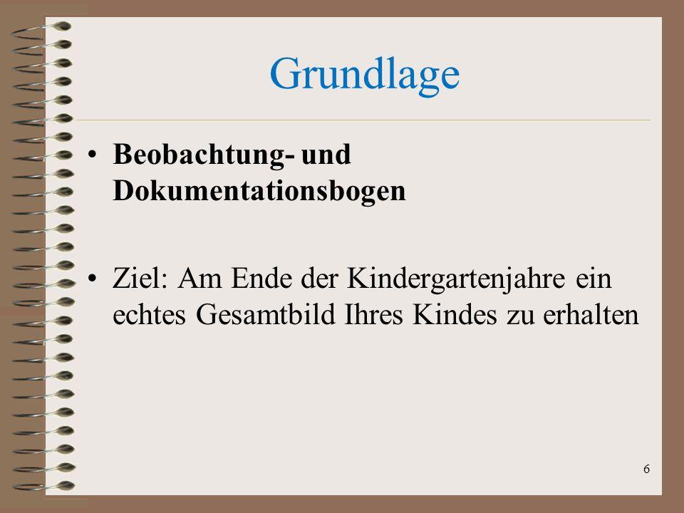 Grundlage Beobachtung- und Dokumentationsbogen Ziel: Am Ende der Kindergartenjahre ein echtes Gesamtbild Ihres Kindes zu erhalten 6