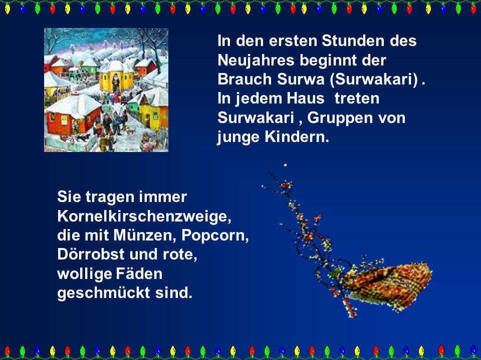 Mit diesen Kornelkirschenzweigen versetzen die Kinder jedem Menschen von der Familie einen leichten Schlag und wünschen ihm ein frohes, gesundes neues Jahr.