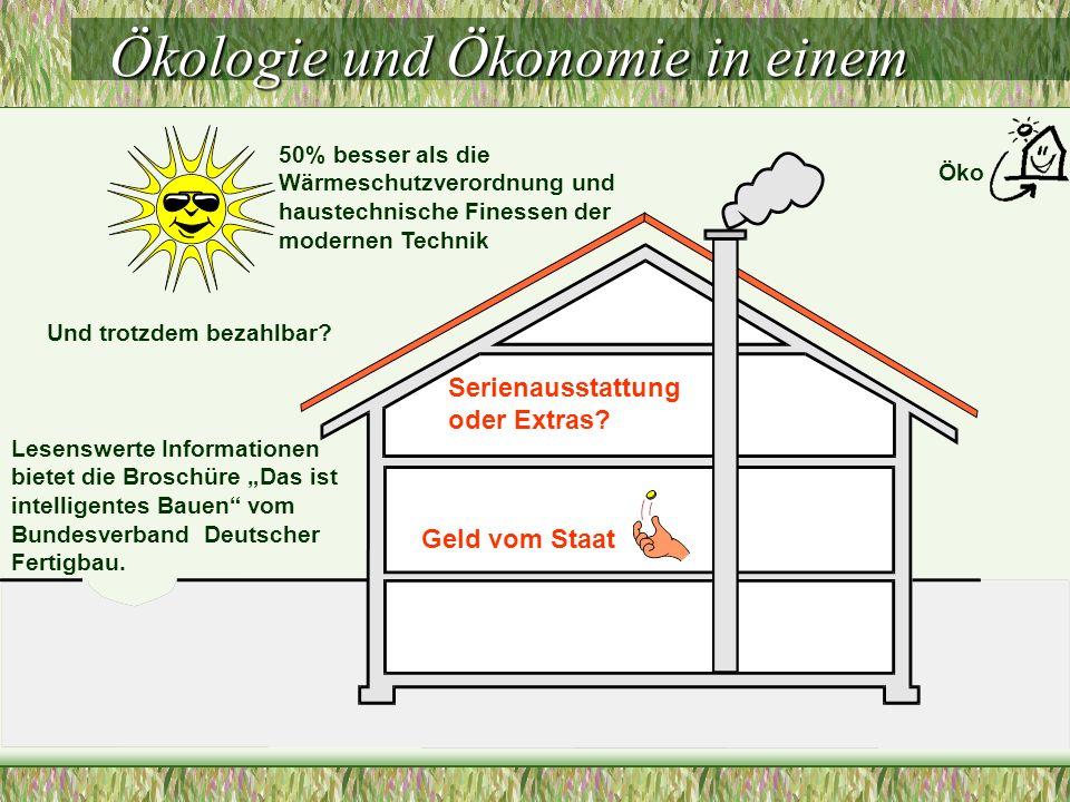 Ökologie und Ökonomie in einem 50% besser als die Wärmeschutzverordnung und haustechnische Finessen der modernen Technik Und trotzdem bezahlbar.